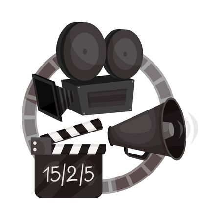 Movie camera, a shout, a movie clapperboard and a film ring. Vector illustration on a white background.