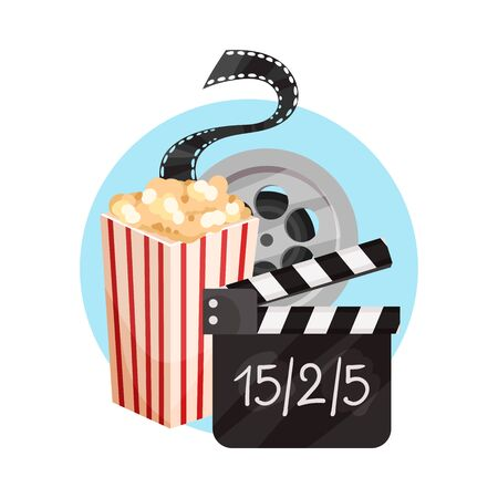 Popcorn, film strip, movie clapperboard. Vector illustration on a white background.