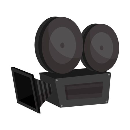 Retro movie camera. Vector illustration on a white background. Illusztráció