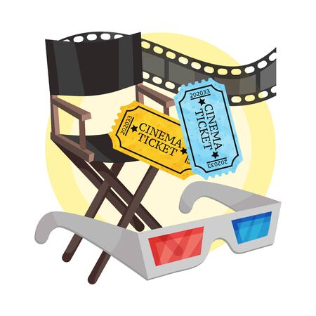Directors chair, 3D glasses, film strip, two tickets. Vector illustration on a white background.