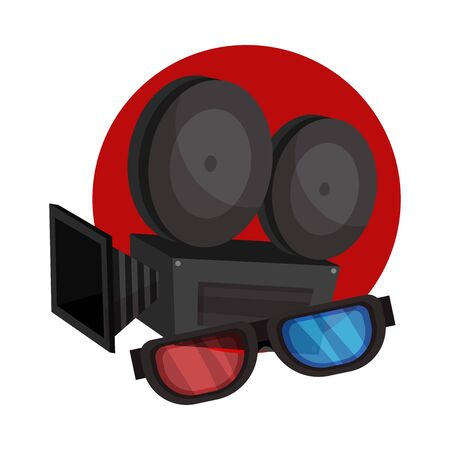 Movie camera and 3D glasses in a red circle. Vector illustration on a white background.