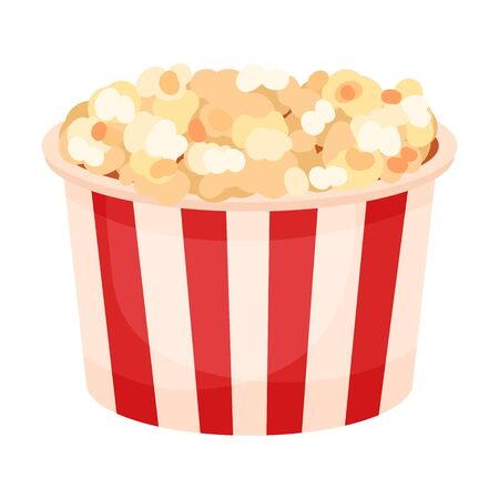Round paper bucket with popcorn. Vector illustration on a white background.