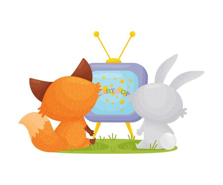 Cute fox and hare are watching TV together. Vector illustration on a white background.