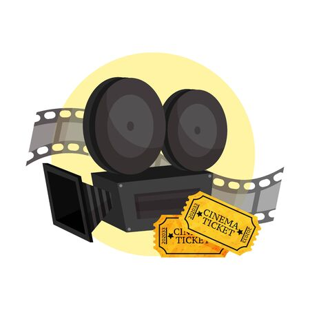 Movie camera, film strip and two movie tickets in a yellow circle. Vector illustration on a white background.