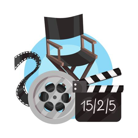 Directors chair, film strip, movie clapperboard in a blue circle. Vector illustration on a white background. Illusztráció