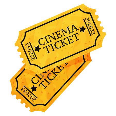Two yellow movie tickets. Vector illustration on a white background. Ilustração