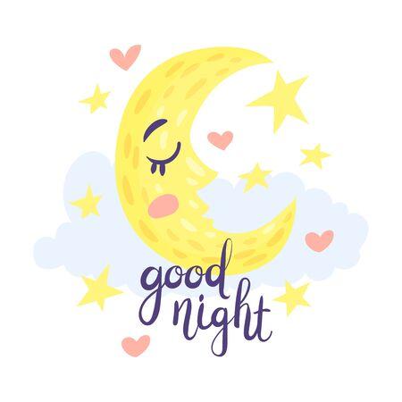 Moon sleeps among the stars. Vector illustration on a white background. Stock Vector - 129759500