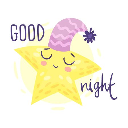 Cartoon star is sleeping. Vector illustration on a white background. Illustration
