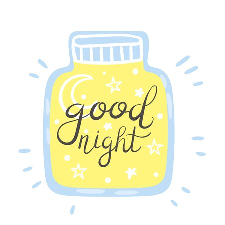 Contour of a closed jar with the moon and stars inside. Vector illustration on a white background.