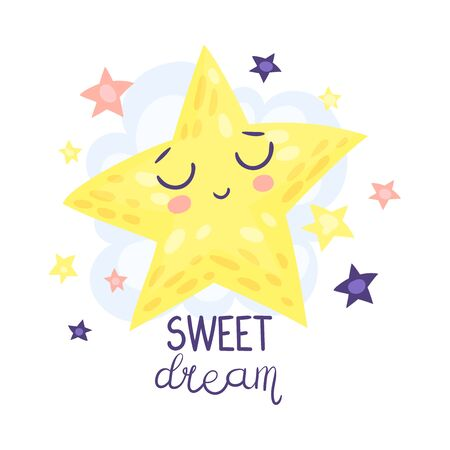 Big yellow star is sleeping. Vector illustration on a white background.