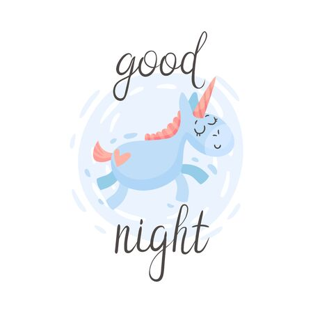 Sleeping unicorn is flying. Vector illustration on a white background.