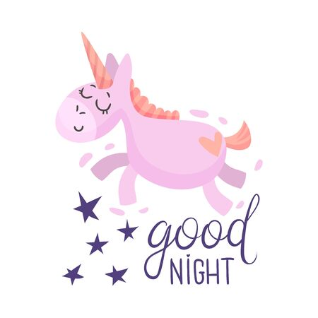 Pink unicorn flies in a dream. Vector illustration on a white background.