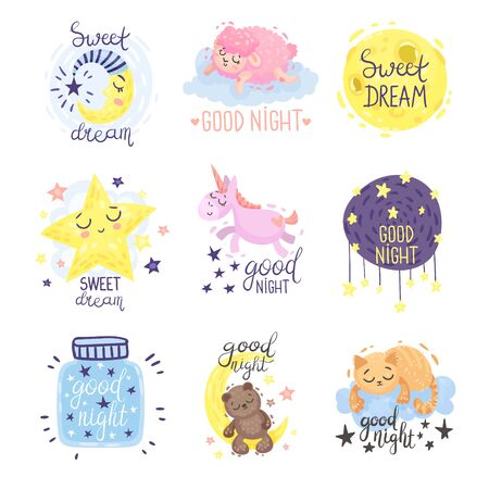 Cute pictures with the inscription Good night. Vector illustration on a white background. Stock Vector - 129759523