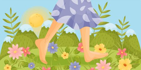 Bare feet are walking in a clearing. Vector illustration. Ilustracje wektorowe