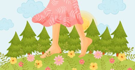 Bare feet on a flower meadow. Vector illustration. Ilustrace
