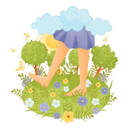 Blote voeten in een blauwe jurk in de wei. Vector illustratie.