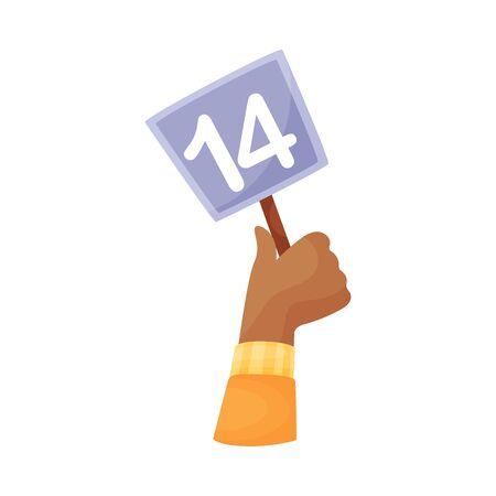 Square plate with the number 14 in hand. Vector illustration on a white background.