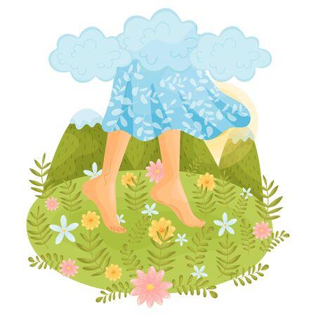 Piedi nudi in un vestito su uno sfondo di montagne. Illustrazione vettoriale.