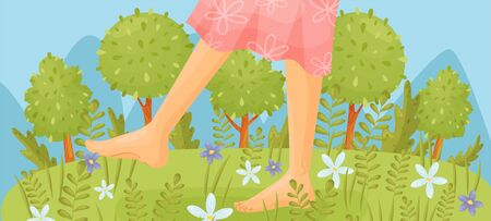 Bare feet in a pink dress are walking through the meadow. Vector illustration.