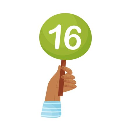 Round plate with the number 16 in hand. Vector illustration on a white background. Stock Illustratie