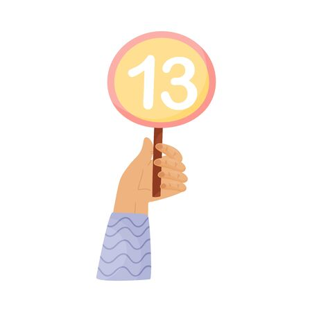 Round plate with the number 13 in hand. Vector illustration on a white background.