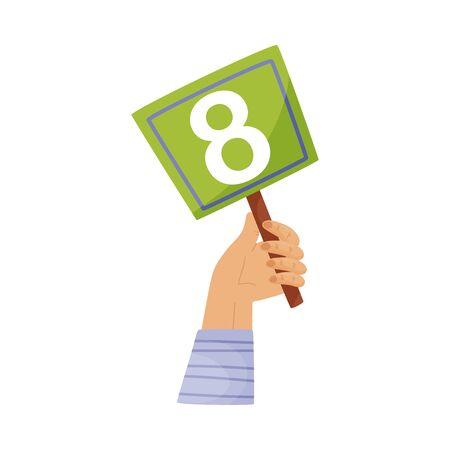 Square plate with the number 8 in hand. Vector illustration on a white background.