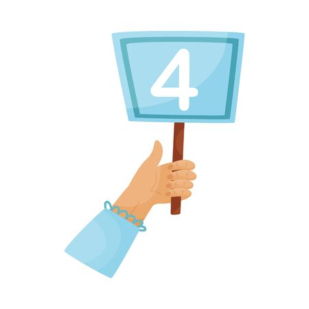 Square plate with the number 4 in hand. Vector illustration on a white background. Ilustração