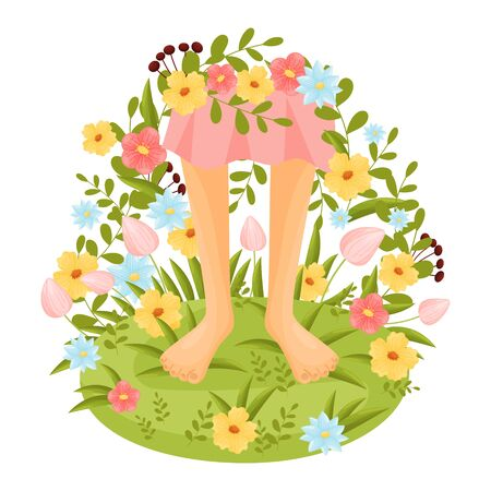 Bare feet in a clearing surrounded by flowers. Vector illustration.