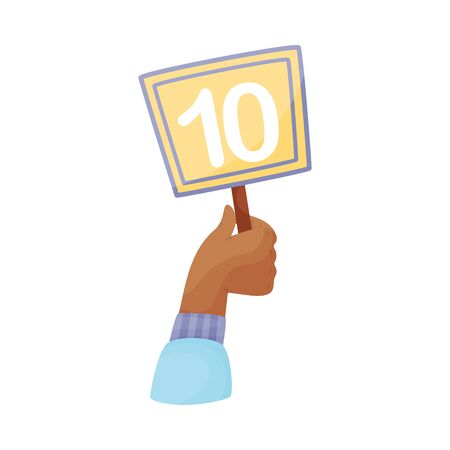 Square plate with number 10 in hand. Vector illustration on a white background.
