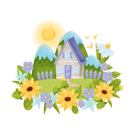 Rustic gray house with a blue roof. Vector illustration.
