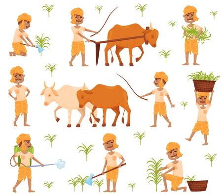 Set of images of a farmer in traditional Indian clothing. Vector illustration. 일러스트