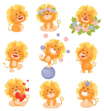 Set of cute cartoon lion cubs in colors, plays ball and juggles. Vector illustration on a white background. 일러스트