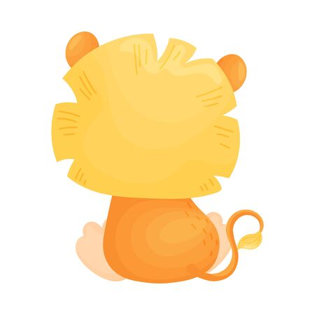 Cartoon lion cub with a magnificent mane sits. Vector illustration on a white background.
