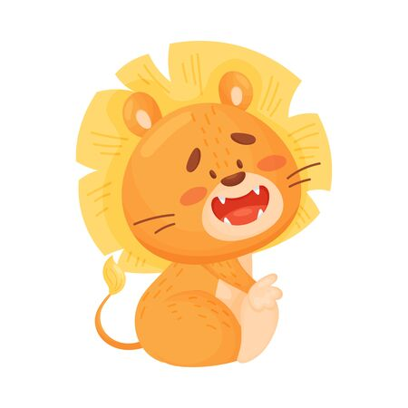 Cartoon humanized cute lion cub sitting. Side view. Vector illustration on a white background. 일러스트