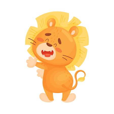 Cute lion cub stands back forward. Vector illustration on a white background. Иллюстрация