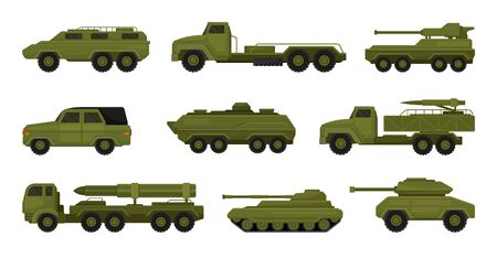 Set of military vehicles. Vector illustration on a white background. Ilustracja