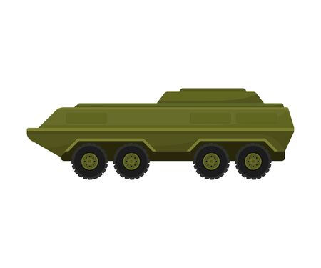 Long military vehicle on rubber black wheels. Vector illustration on a white background.
