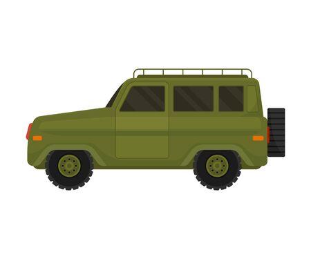Military khaki vehicle. Vector illustration on a white background.