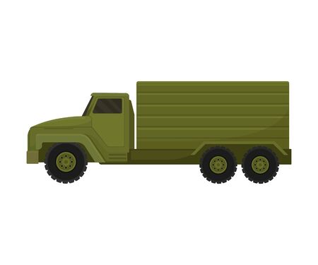 Military truck with a van. Vector illustration on a white background. Ilustracja