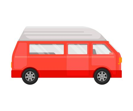 Red passenger minivan. Vector illustration on a white background. Banque d'images - 129759902