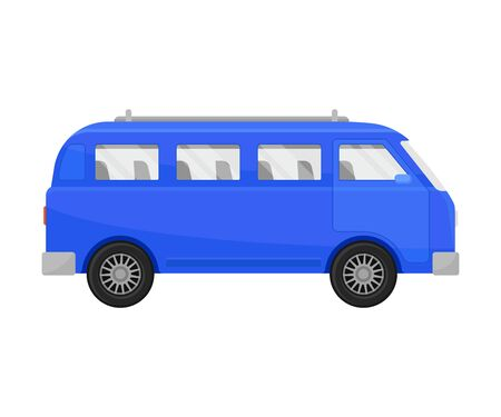 Blue minivan. Vector illustration on a white background.