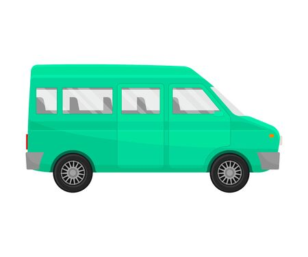 Green minivan. Vector illustration on a white background. Banque d'images - 129760618