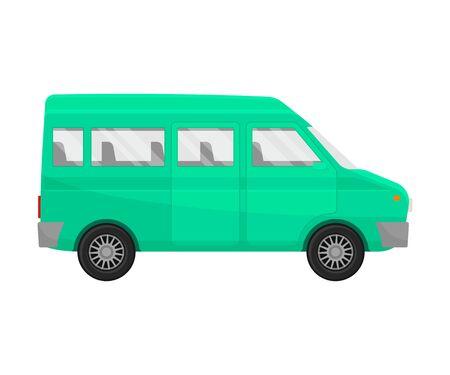 Green minivan. Vector illustration on a white background. Illustration