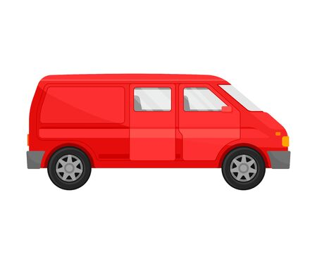 Red minivan. Vector illustration on a white background. Stock Vector - 129760619