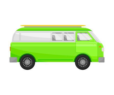 Light green minivan. Vector illustration on a white background. Stock Illustratie