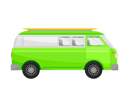 Light green minivan. Vector illustration on a white background. Illustration