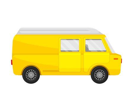 Mini-fourgonnette combi jaune. Illustration vectorielle sur fond blanc.