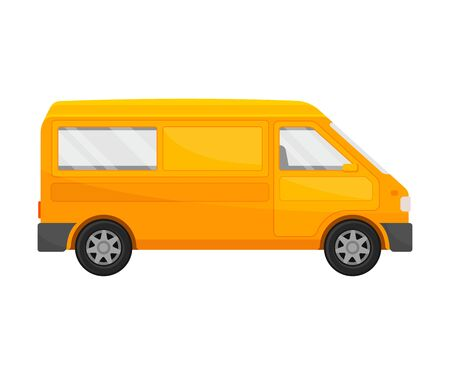 Orange minivan. Vector illustration on a white background.