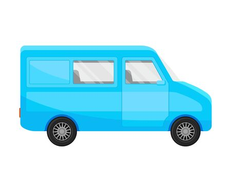 Light blue minivan. Vector illustration on a white background.