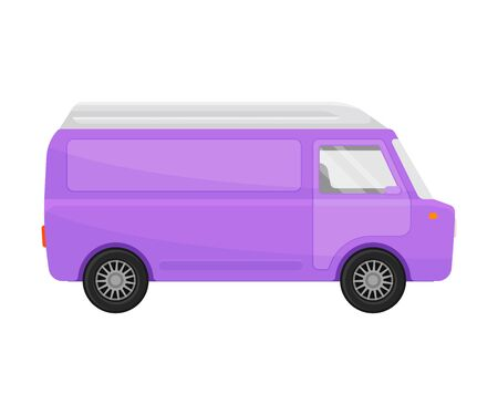 Purple cargo minivan. Vector illustration on a white background. Banque d'images - 129760634